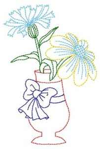 Flowers in a vase-embroidery design