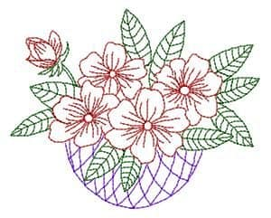 Flowers in a basket-free embroidery design