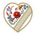 Embroidery designs for hanging decorations.