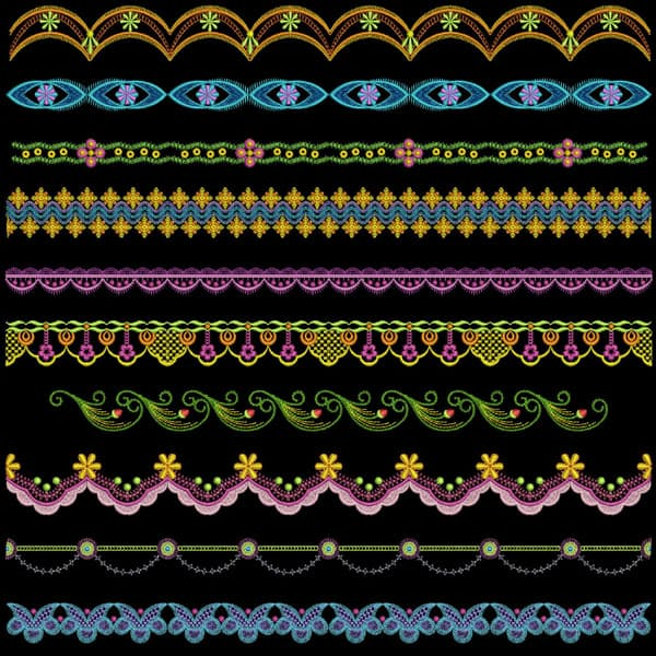 Borders 10 designs- machine embroidery | Free embroidery designs