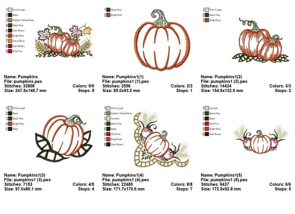 "Embroidery designs ""Autumn motive with pumpkin""(6 designs)"