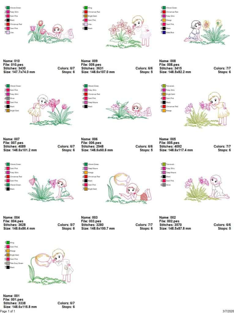 Spring flowers and little girls-10 embroidery designs
