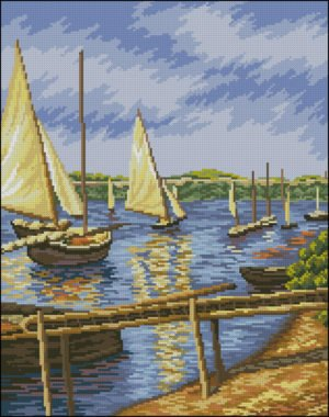 "Needlepoint pattern ""Sailboats in Argenteuil"""