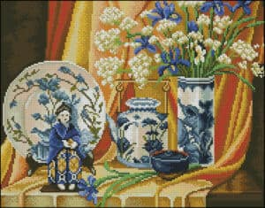 Still life in chinese style-cross-stitch pattern