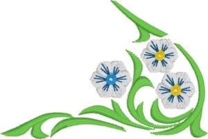 White convolvulus - corner-free embroidery design