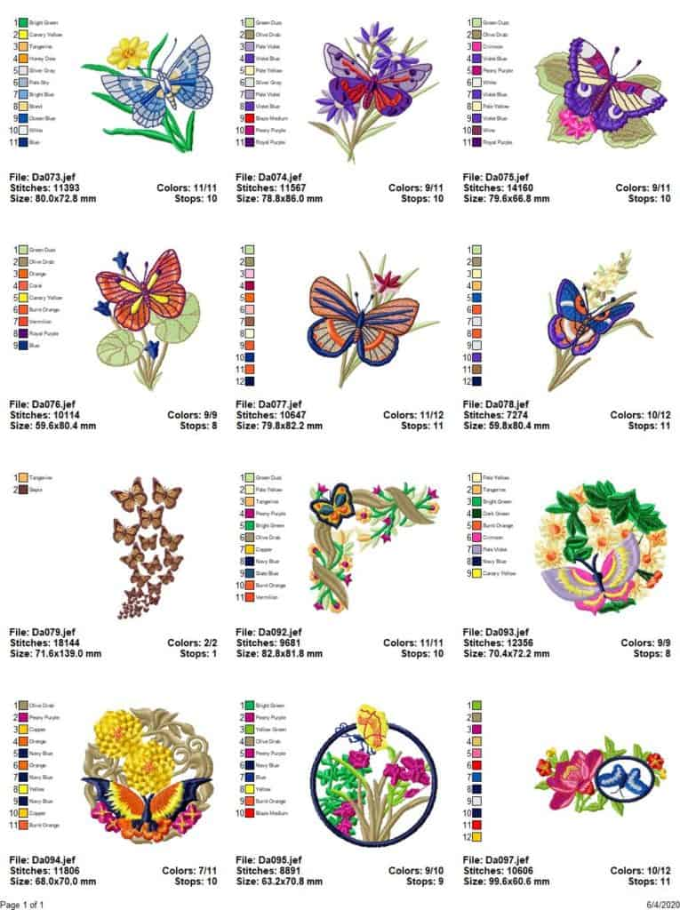 Embroidery designs with butterflies