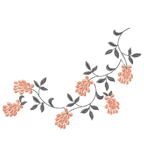 Embroidery design-flower branch