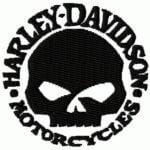 Harley Davidson skull logo embroidery desugn