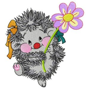 Hedgehog with a flower- free embroidery design