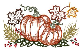 "Embroidery design ""Autumn motive with pumpkin"""