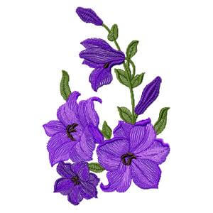 embroidery design purple flowers